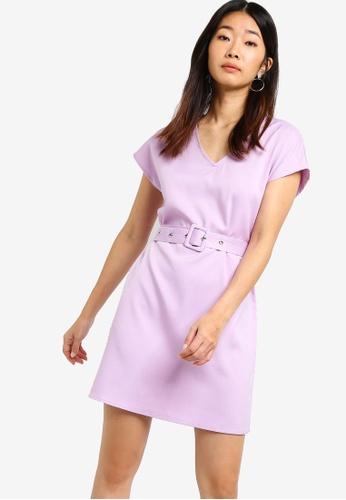 Something Borrowed purple Pop Belted Tee Dress 2D4C3AAB9EF3C2GS_1