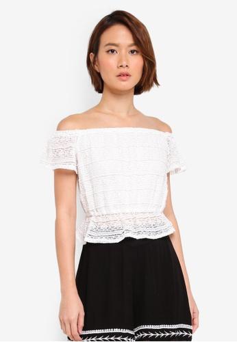 Miss Selfridge white Lace Bardot Top 97555AA27DE38FGS_1