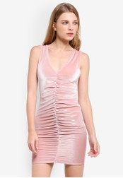 Miss Selfridge pink Pink Velvet Ruched Dress MI665AA0RSU0MY_1