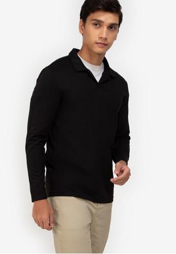ZALORA BASICS black Long Sleeve Polo Tee 3261EAAA61FCA1GS_1