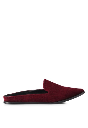 Something Borrowed red Velvet Embossed Slip On Flats 265FCSHFC91D87GS_1