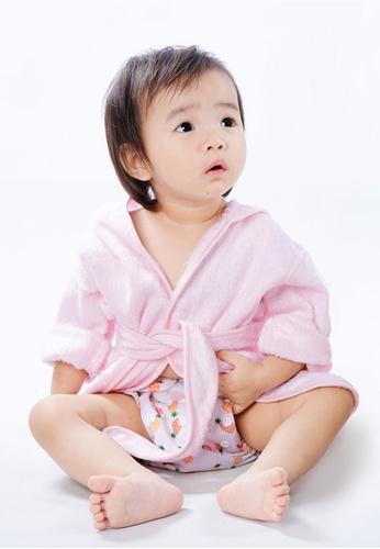 Cheekaaboo pink Baby Girl Bamboo Hooded Bathrobe 93219KC9595A3BGS_1
