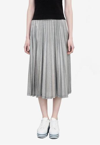 Hopeshow silver Pleated Flare Midi Skirt 5288DAA44213EDGS_1