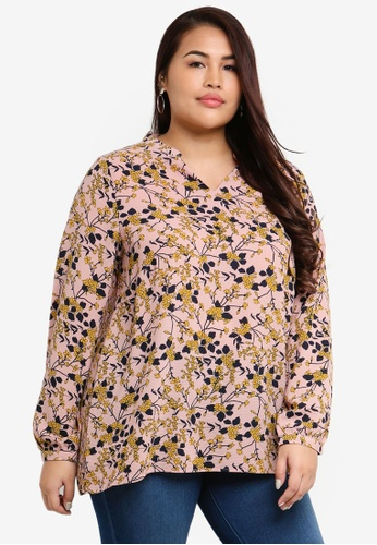 Only CARMAKOMA pink and multi Plus Size Luxcecilia Top B34AEAA902A5A3GS_1