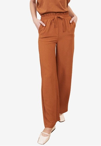 Trendyol brown Drawstring Wide Leg Pants 3EF52AAA4C34F8GS_1
