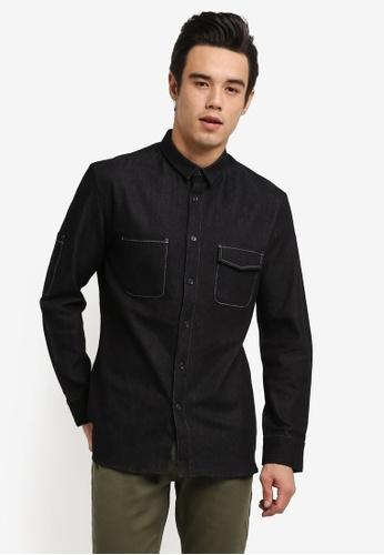 ZALORA black Engineered Chambray Long Sleeve Shirt CFBAAAA544BAFFGS_1