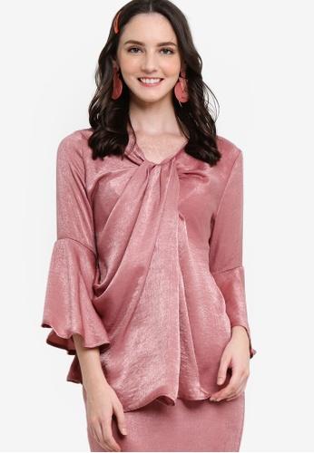 Lubna 粉紅色 Twisted Drape Top 81927AA53D013AGS_1
