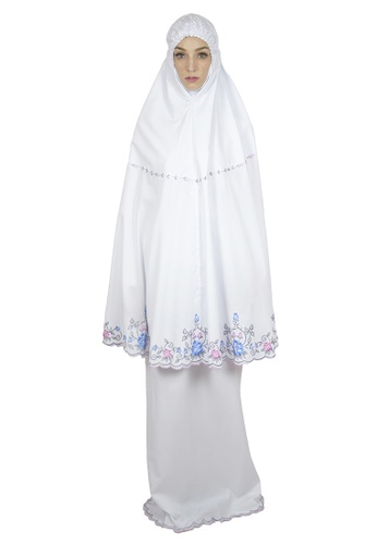 Cantik Butterfly white Flora Embroidered Telekung Set (White) AC19AAA27EBB7DGS_1