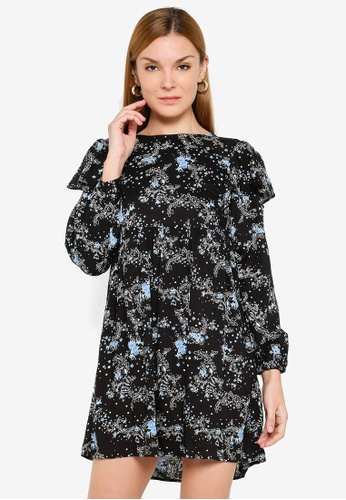 Miss Selfridge black Blue Floral Long Sleeve Smock Dress 988CFAAE2DECFCGS_1