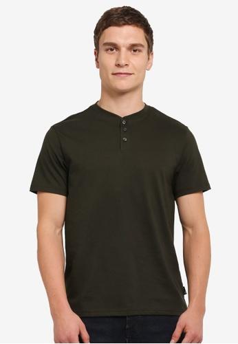 Burton Menswear London green Short Sleeve Khaki Grandad T-Shirt BU964AA0SILSMY_1