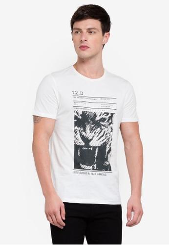 OVS 白色 短袖印花T恤 3F1E0AA592CA75GS_1