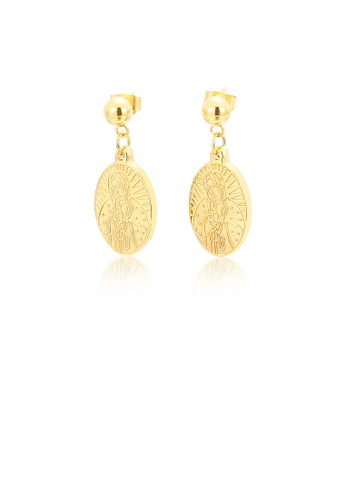 Glamorousky silver Fashion and Simple Plated Gold Goddess Statue Geometric Oval 316L Stainless Steel Earrings 16DFAAC74A8B0BGS_1