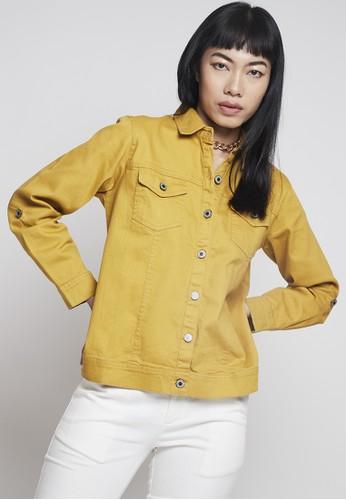 IHANG yellow IHANG Soft Denim Jacket Yellow Mustard 386D5AADEBCC74GS_1