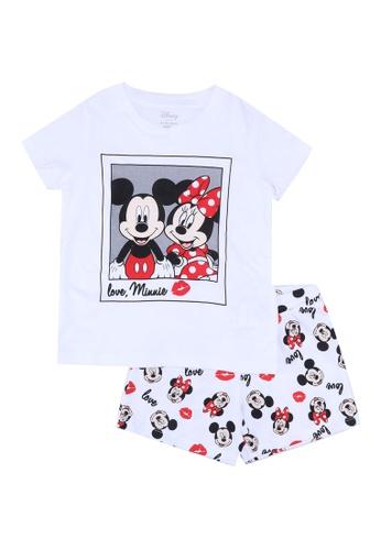 FOX Kids & Baby white White Tee and Pink Shorts Sleep Set 54299KAC0E531AGS_1