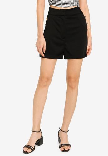 ZALORA BASICS black Button Detail Shorts 3C956AAD9BE72AGS_1