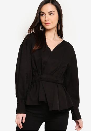 ZALORA black Long Sleeves Overlap Peplum Blouse FB2C2AAAE32EDAGS_1