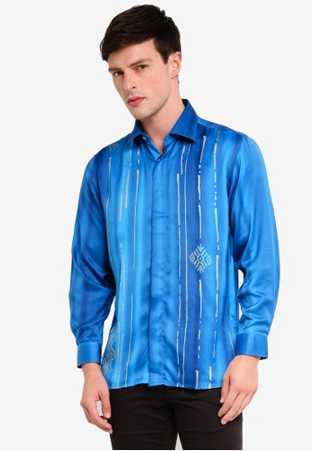 Gene Martino blue Men's Batik Islamic Motif Shirt 5185CAA98C4A5FGS_1