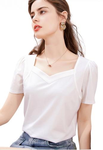 HAPPY FRIDAYS 白色 泡泡袖甜心領上衣 JW GW-J218 1264BAA3E2F618GS_1