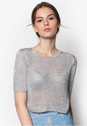 色紗紡織短版TEE, zalora 心得服飾, 服飾