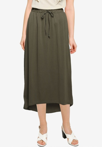 JACQUELINE DE YONG green Dalila Life Frosty Long Skirt AD653AAFEB5852GS_1