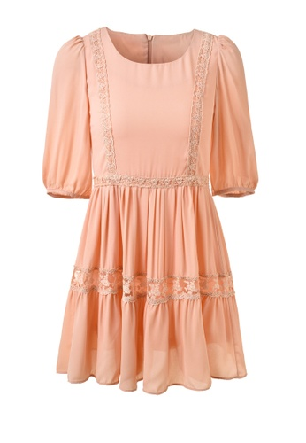 hk-ehunter pink Three-quarter Sleeve Dress D369BAAF5FE0BDGS_1