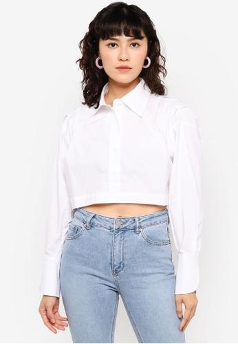 Urban Revivo white Cropped Buttoned Shirt 84315AA8EC53CDGS_1