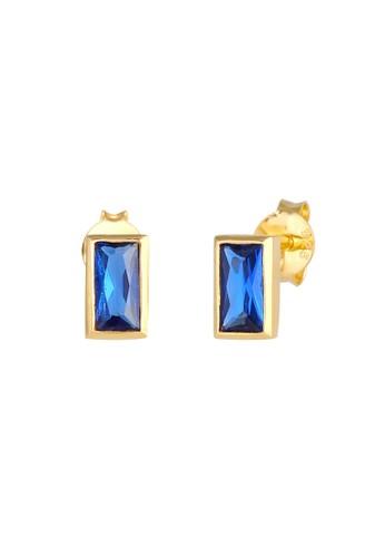 Elli Germany blue Perhiasan Wanita Perak Asli - Silver Anting Plug Filigree Sapphire Gold Plated 47201ACDFCBC2BGS_1