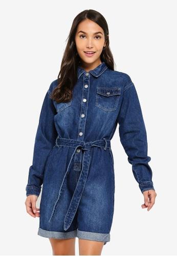 ZALORA 藍色 口袋 Detailed 丹寧 連身短褲 4529AAAE75B985GS_1