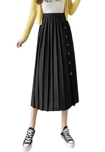 Halo black Pleated Midi Skirt 88895AAD1B6421GS_1
