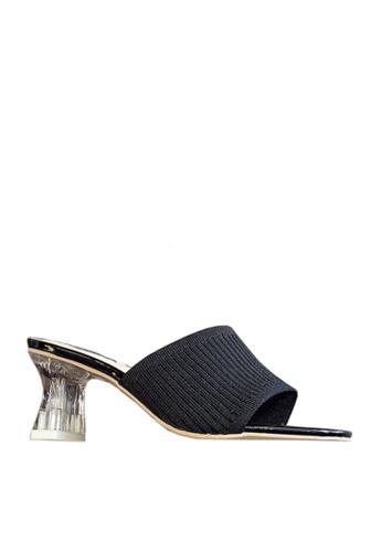 Twenty Eight Shoes 黑色 針織布水晶跟涼鞋 VS86 440F4SH66C7B62GS_1