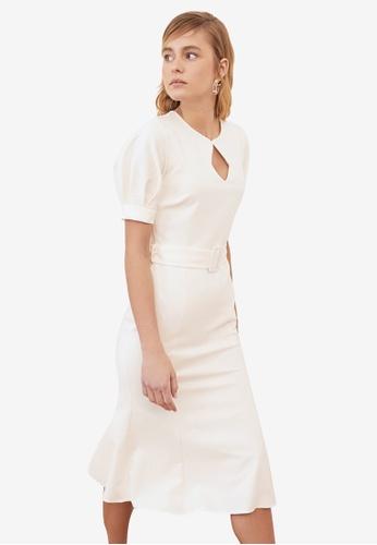 Trendyol white Belted Puff Sleeve Midi Dress 2C592AA8A514E6GS_1