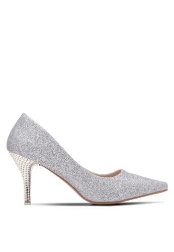 Spiffy silver Glittler Chromed Studded High Heels SP352SH0S6E8MY_1