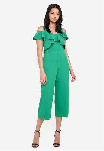 Dorothy Perkins green Frill Front Culotte Jumpsuit CBF3FAA42F1D0FGS_1