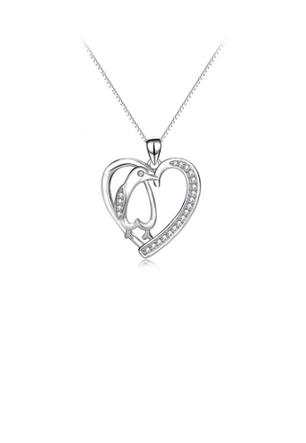 Glamorousky white 925 Sterling Silver Simple Fashion Penguin Heart Pendant with Cubic Zirconia and Necklace AC56FAC61E9EDAGS_1
