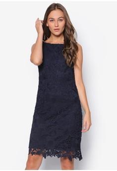 Navy Crochet Lace Shift Dress