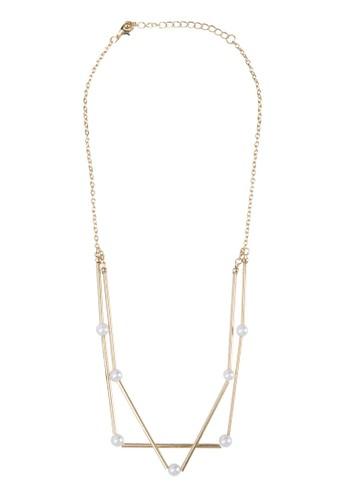 Genesis 幾何珍珠項鍊, 飾品配件,zalora 衣服評價 飾品配件