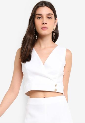 5dd971684be Miss Selfridge white White Side Button Wrap Crop Top E4B77AA00CEB70GS_1