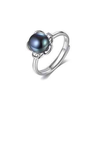Glamorousky black 925 Sterling Silver Fashion Elegant Flower Black Freshwater Pearl Adjustable Open Ring 8C0CCACF577E79GS_1