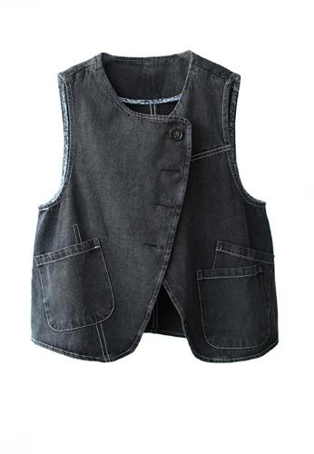 Twenty Eight Shoes black VANSA Retro Solid Color Denim Vest VCW-V10257 E9F09AA6F9EFB1GS_1