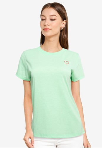Tolliver green Love Outline Embroidered Tee 2D7F9AABCB3823GS_1