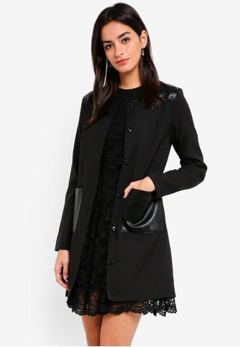 ZALORA black Black PU Contrast Coat 44C4CAA1D0F7E4GS_1
