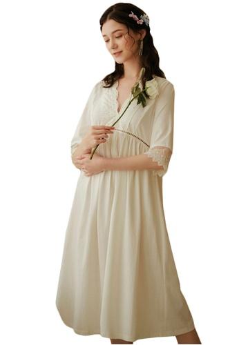 LYCKA white LML1249-Lady One Piece Long Sleeve Lace Sleepwear-White C86E5AAA7B61BFGS_1
