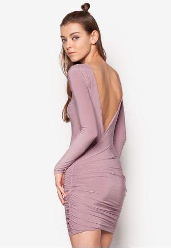 挖背抓皺貼身連身裙, 服飾, 服esprit女裝飾