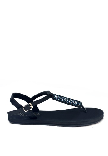 Ripples black Nadia Slide'N'Style T-Bar Sandals RI425SH0FQPASG_1