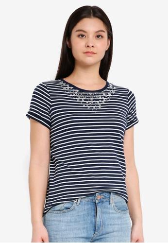 Dorothy Perkins navy Navy Stripe Bling Yoke T-Shirt ACEFFAA68F049DGS_1