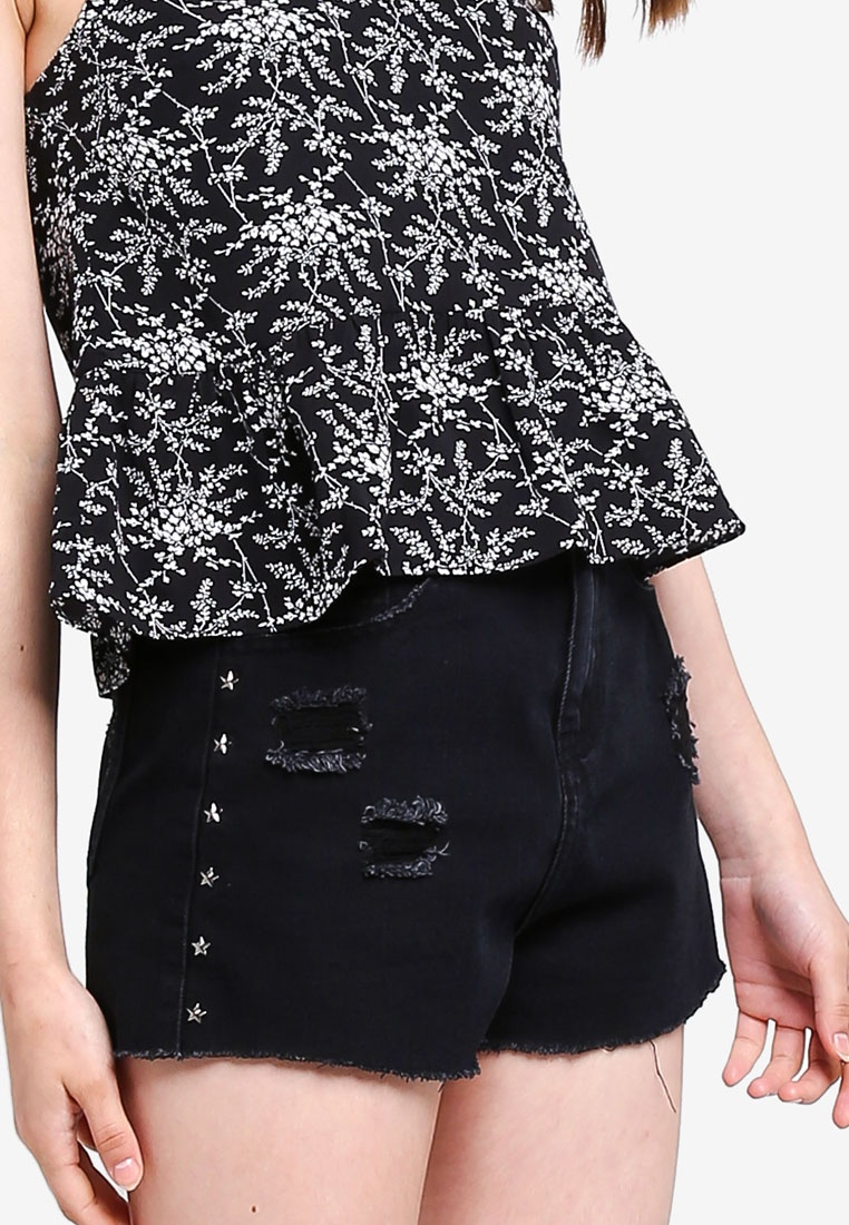 Denim Star Studded Shorts Borrowed Black Something Washed FZxqtt