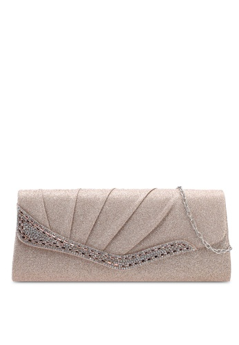Unisa gold Pleated Dinner Clutch With Glittering Stones & Crystal Embellishment 06B98AC83281BCGS_1