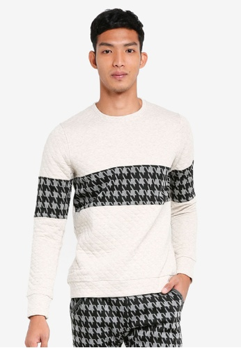 UniqTee white Textured Sweater With Contrast Band 7F825AA687CADAGS_1
