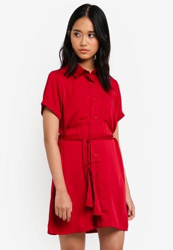 Penshoppe red Regular Length Shirt Dress With Pocket Detail E86F9AABA40A04GS_1