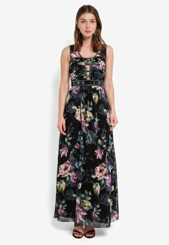 Little Mistress black and multi Floral Print Maxi Dress EACB9AA86B7AABGS_1